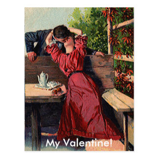 Vintage Valentines Couple Kissing Card Postcard