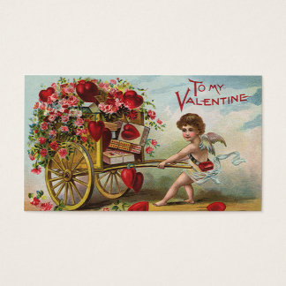Vintage Valentines Day Angel, Cart of Love Hearts Business Card
