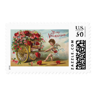 Vintage Valentines Day Angel, Cart of Love Hearts Postage