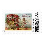 Vintage Valentines Day Angel, Cart of Love Hearts Postage Stamp
