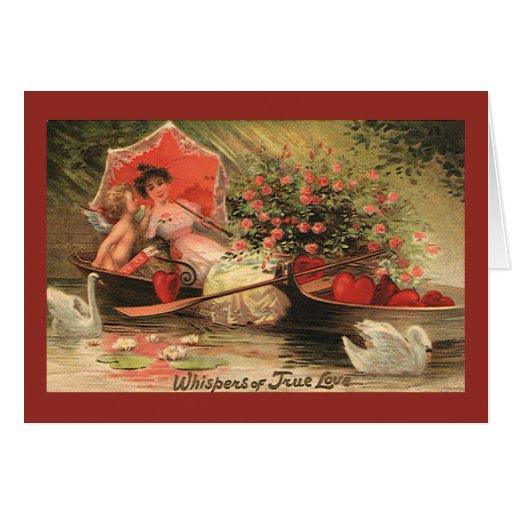 Vintage Valentine's Day Angel Cupid Flowers Love Card