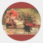 Vintage Valentine's Day Angel Cupid Flowers Love Stickers