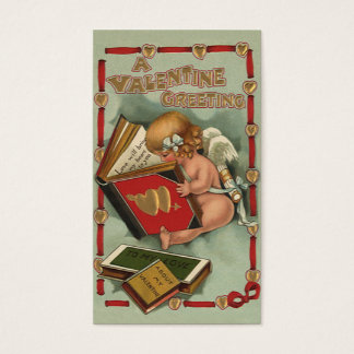 Vintage Valentine's Day Angel, Cupid Reading Book Business Card