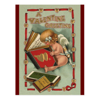 Vintage Valentine's Day Angel, Cupid Reading Book Postcard