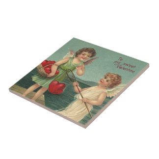 Vintage Valentine's Day, Angels Fishing for Hearts Ceramic Tile