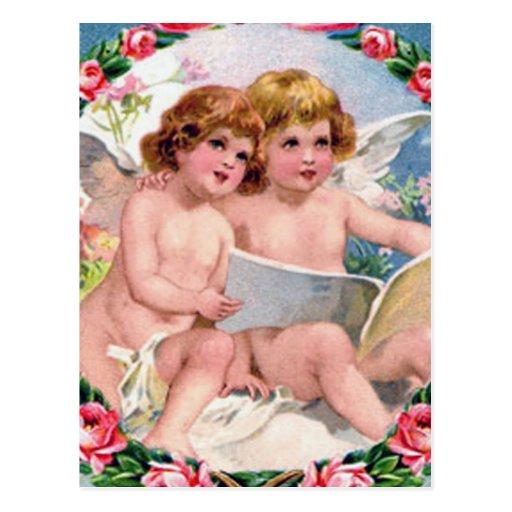 Vintage Valentine's Day Angels Postcard