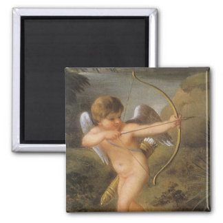 Vintage Valentines Day, Bow and Arrow Cupid Forest 2 Inch Square Magnet