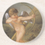 Vintage Valentines Day, Bow and Arrow Cupid Forest Coaster