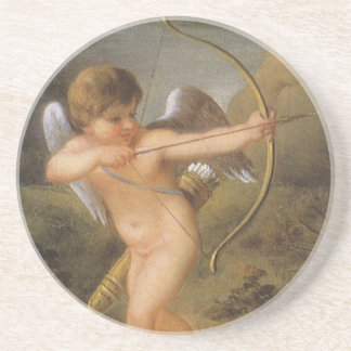 Vintage Valentines Day, Bow and Arrow Cupid Forest Sandstone Coaster