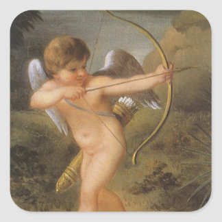 Vintage Valentines Day, Bow and Arrow Cupid Forest Square Sticker
