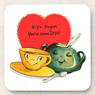 Vintage Valentine's Day Card Beverage Coasters