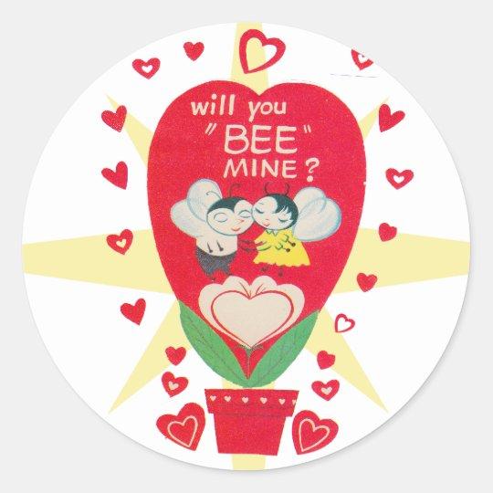 Vintage Valentines Day Card Classic Round Sticker