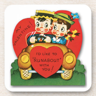 Vintage Valentine's Day Card Coaster