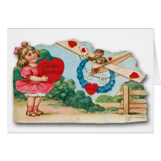 Vintage Valentine's Day Card with Airplane