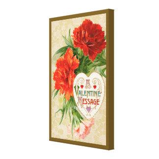 Vintage Valentine's Day, Carnation Flowers Heart Canvas Print