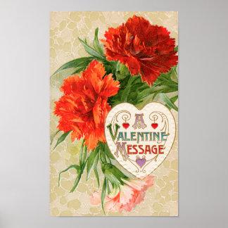 Vintage Valentine's Day, Carnation Flowers Heart Poster
