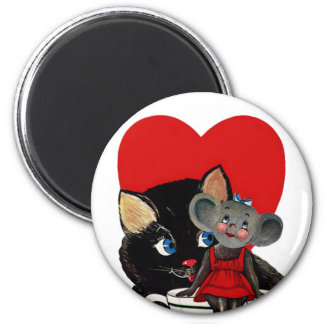 Vintage Valentine's Day, Cat Mouse Tea Cup Heart 2 Inch Round Magnet