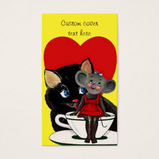 Vintage Valentine's Day, Cat Mouse Tea Cup Heart Business Card