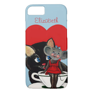 Vintage Valentine's Day, Cat Mouse Tea Cup Heart iPhone 7 Case
