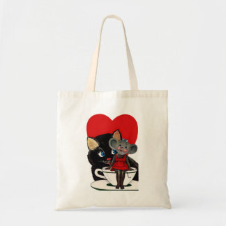 Vintage Valentine's Day, Cat Mouse Tea Cup Heart Tote Bag