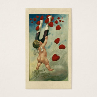Vintage Valentine's Day, Cherub with Magnet Hearts Business Card