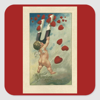 Vintage Valentine's Day, Cherub with Magnet Hearts Square Sticker