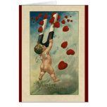 Vintage Valentine's Day, Cherub with Magnet Hearts Stationery Note Card