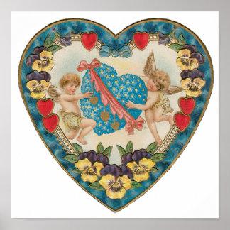 Vintage Valentine's Day, Cherubs with Floral Heart Poster