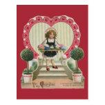 Vintage Valentine's Day, Child with Flowers Postcard