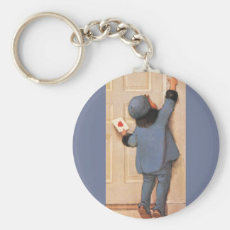 Vintage Valentine's Day, Child with Love Letter Key Chain