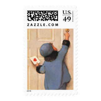 Vintage Valentine's Day, Child with Love Letter Postage Stamp