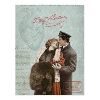 Vintage Valentine's Day Couple Love Heart Collage Postcard