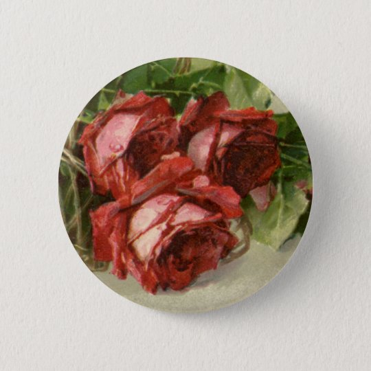 Vintage Valentine's Day, Crimson Red Roses Button