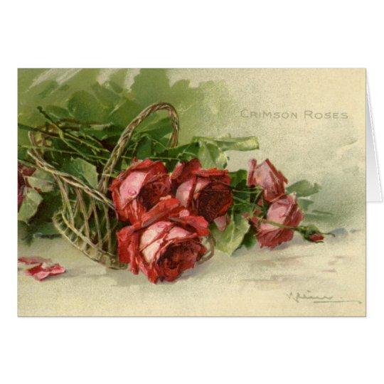 Vintage Valentine's Day, Crimson Red Roses Card