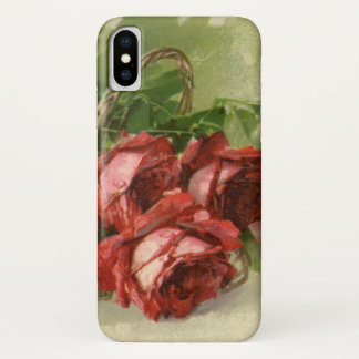 Vintage Valentine's Day, Crimson Red Roses iPhone X Case