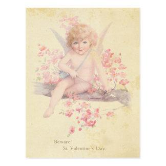 Vintage Valentine's Day Cupid Pink Blossom Tree Postcard