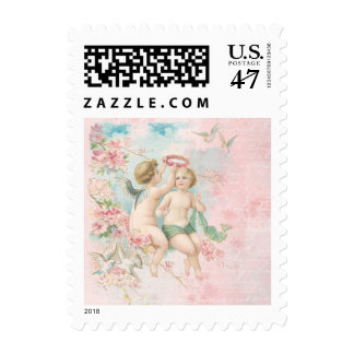 Vintage Valentine's Day Cute Angels Pink Blossoms Postage