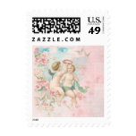 Vintage Valentine's Day Cute Angels Pink Blossoms Stamp