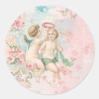 Vintage Valentine's Day Cute Angels Pink Blossoms Sticker