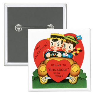 Vintage Valentine's Day, Cute Boy and Girl in Car Button