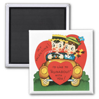 Vintage Valentine's Day, Cute Boy and Girl in Car Magnet