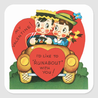 Vintage Valentine's Day, Cute Boy and Girl in Car Square Sticker