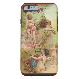 Vintage Valentine's Day, Cute Cherubs Climb Ladder Tough iPhone 6 Case