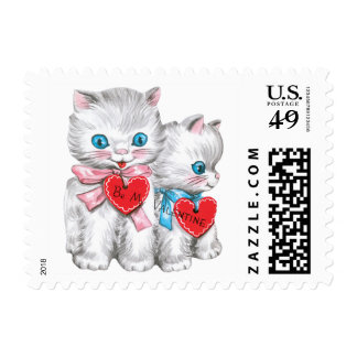 Vintage Valentine's Day, Cute Fluffy Kitten Cats Stamps