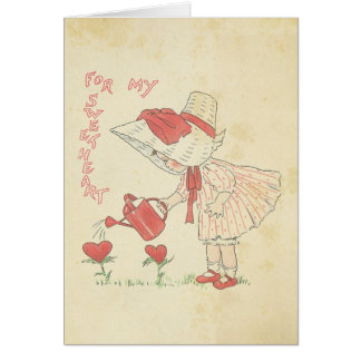 Vintage Valentine's Day Cute Girl Flower Hearts Card