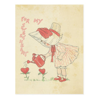 Vintage Valentine's Day Cute Girl Flower Hearts Postcard