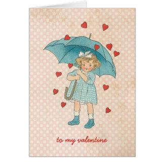 Vintage Valentine's Day Cute Girl Raining Hearts Card