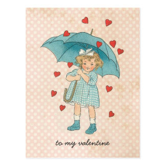 Vintage Valentine's Day Cute Girl Raining Hearts Postcard