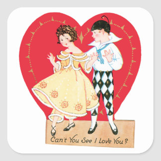 Vintage Valentine's Day, Cute Harlequin with Girl Square Sticker