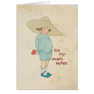 Vintage Valentine's Day Cute Kid Heart Sweetheart Card